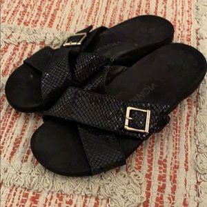 Woman's black VIONIC leather sandals size 7